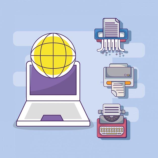ビジネスオフィスのワークスペース用品漫画 Premiumベクター