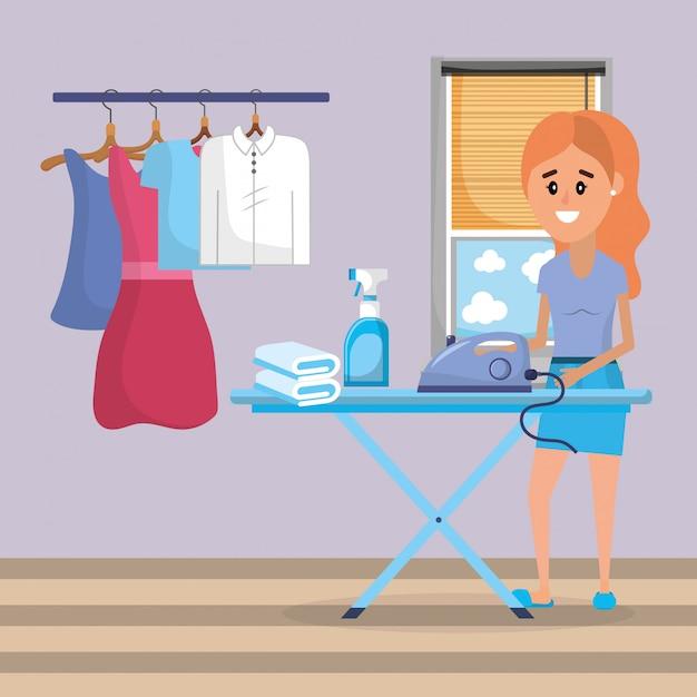 洗濯中の女性 Premiumベクター