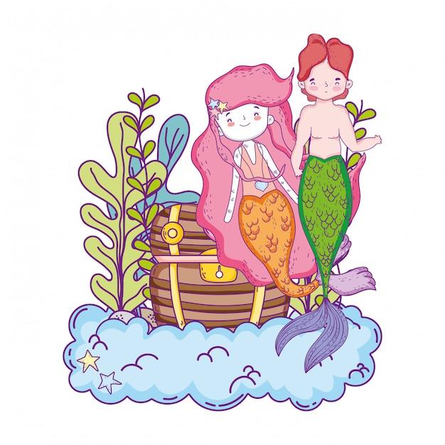 宝箱の海底とカップルの人魚 Premiumベクター