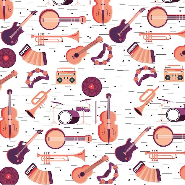 音楽祭の背景にプロの楽器 Premiumベクター
