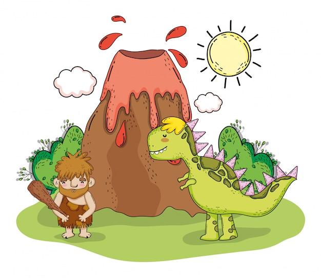 Первобытный человек с тиранозавром и вулканом Premium векторы