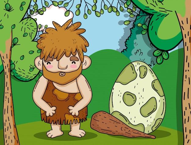 Первобытный человек, охотящийся на яйца динозавров Premium векторы