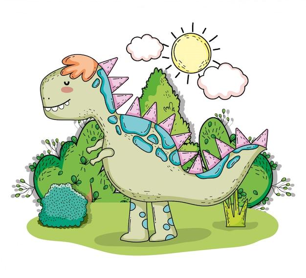 Тираннозарус доисторический динозавр с солнцем и облаками Premium векторы