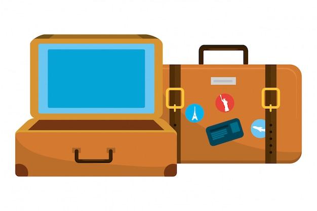 Мультфильм дорожный багаж Premium векторы