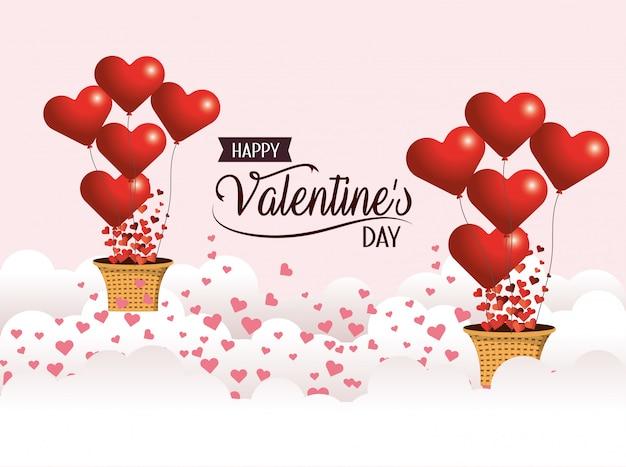 バレンタインの日にバスケットとハートの風船 Premiumベクター