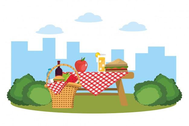 公園でのピクニック Premiumベクター