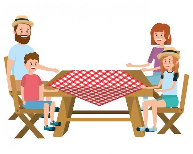 ピクニックに家族 Premiumベクター