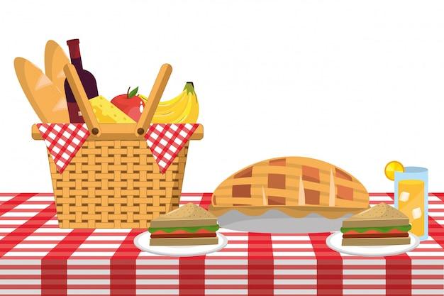 Мультфильм еда для пикника Premium векторы
