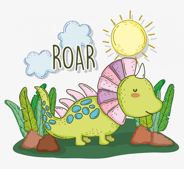 Симпатичное животное стиракозавр с солнцем и облаками Premium векторы