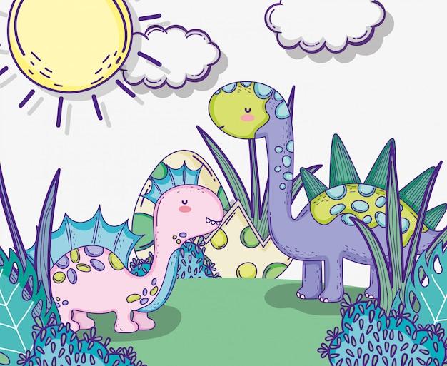 Коритозавры и стегозавры с яйцами динозавра Premium векторы