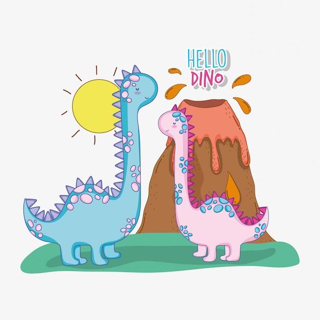 Бронтозавр пара дикой природы с вулканом и солнцем Premium векторы