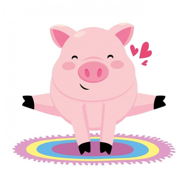 カラフルなカーペットと豚 Premiumベクター