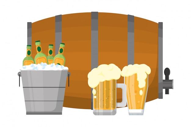 アルコール飲料の漫画 Premiumベクター