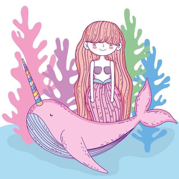 Русалка женщина с китовым единорогом и водорослями Premium векторы