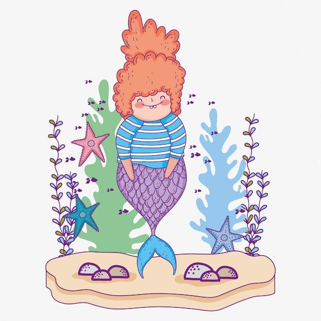 Русалка с морскими звездами и водорослями Premium векторы