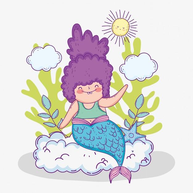 Русалка женщина в облаках и ветвях листьев Premium векторы