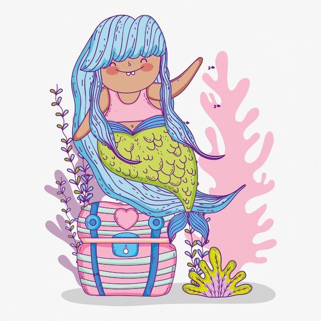 Русалка женщина в сундуке с водорослями Premium векторы