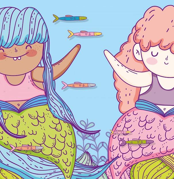 Симпатичные русалки с рыбками и ветками листьев Premium векторы