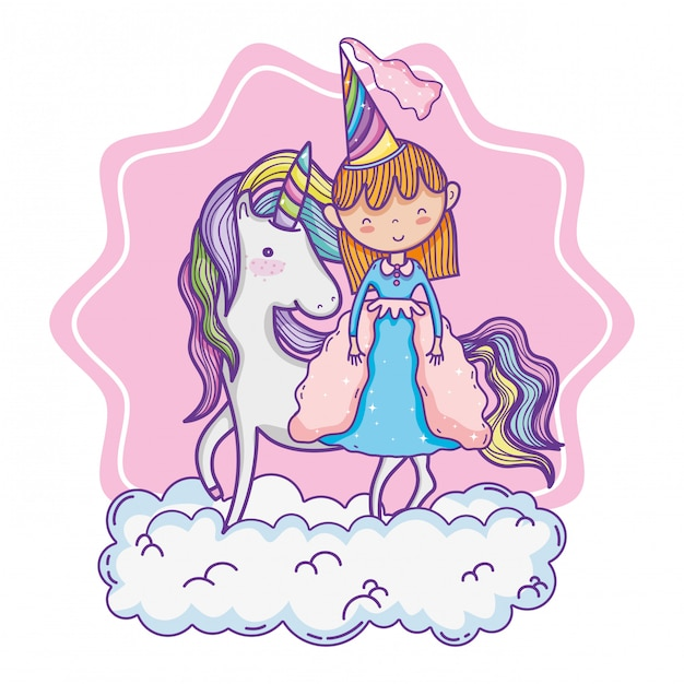 かわいい魔法の王女漫画 Premiumベクター