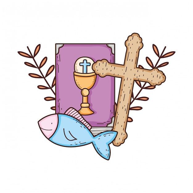 クロスと聖書の本 Premiumベクター