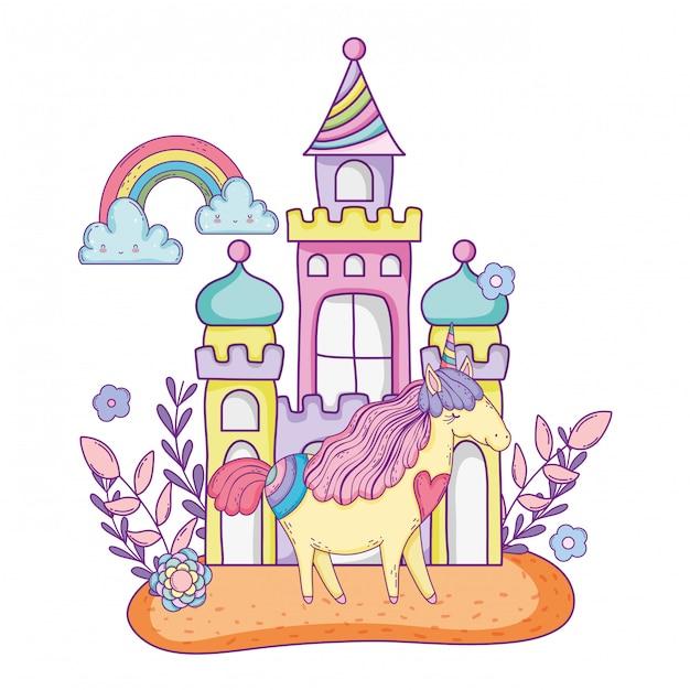 城と虹の美しい小さなユニコーン Premiumベクター