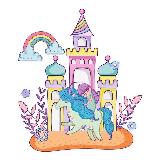Единорог и принцесса с замком в пейзаже Premium векторы
