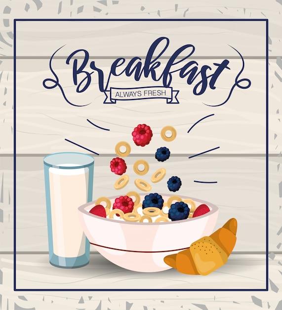Вкусная каша с фруктами и стакан молока Premium векторы