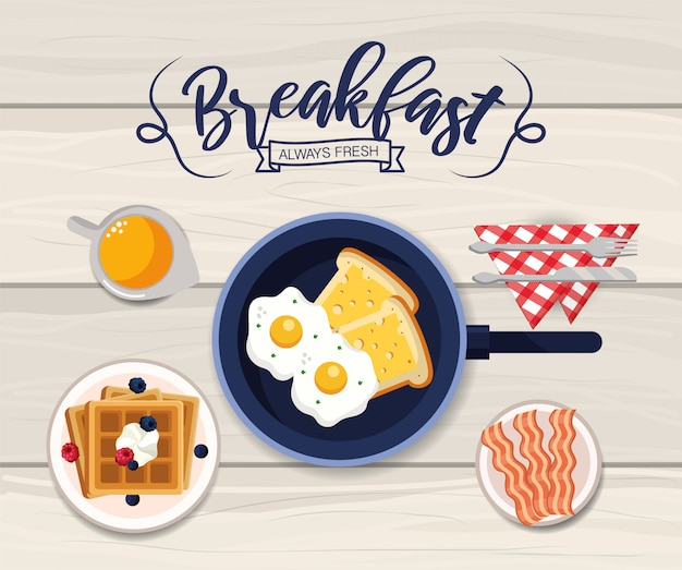 Вкусные жареные яйца с беконом и вафлями на завтрак Premium векторы