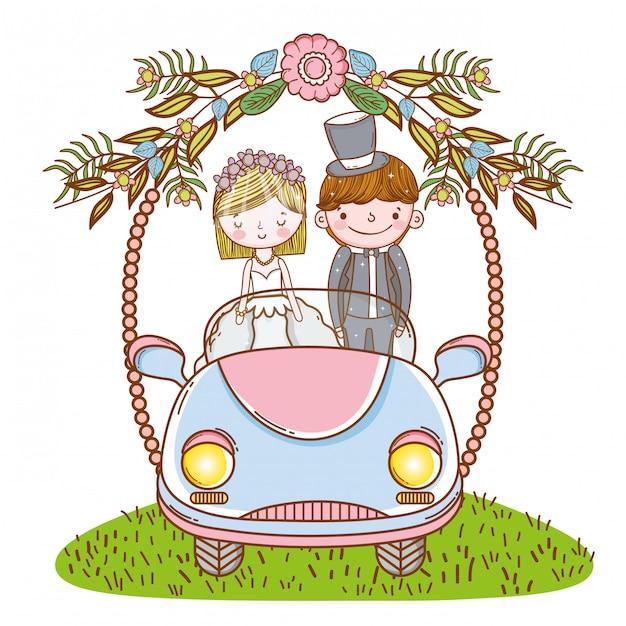 女と男の花の植物が付いている車での結婚式 Premiumベクター
