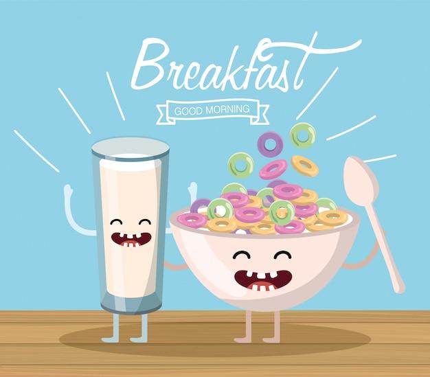 Счастливый стакан молока с хлопьями чашкой и ложкой Premium векторы