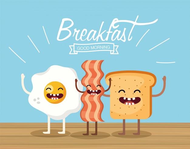 Счастливое жареное яйцо с беконом и нарезанным хлебом Premium векторы