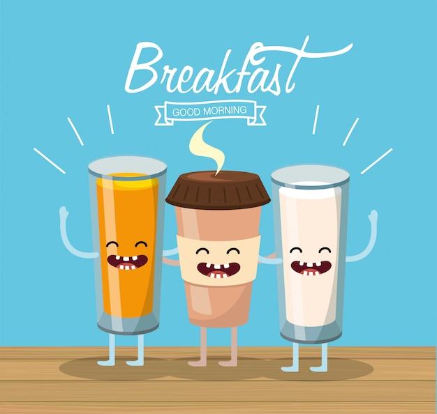 Счастливый апельсин с кофейной пластиковой чашкой и стаканом молока Premium векторы