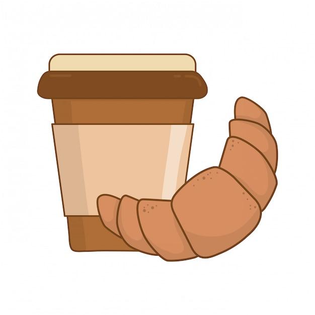 Вкусный круассан с кофе Premium векторы