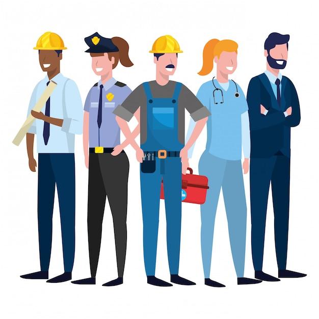 労働日の仕事の漫画 Premiumベクター