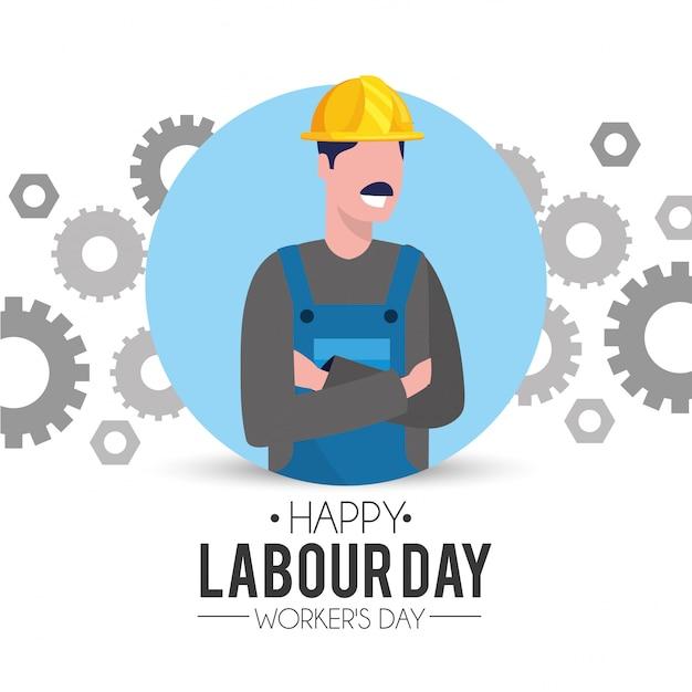 労働者の日にギアを持つプロの男性メカニック Premiumベクター