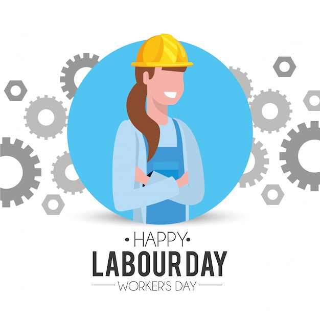労働者の日に歯車とプロの女性メカニック Premiumベクター