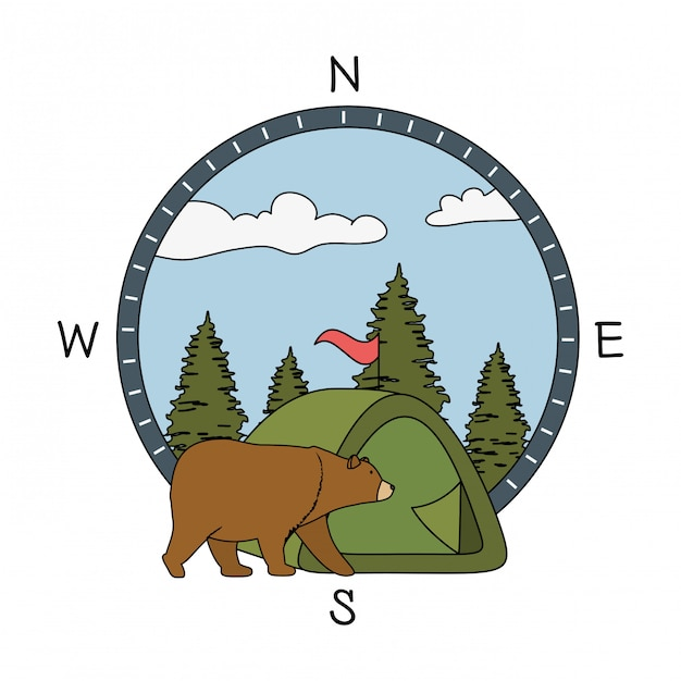 松の木森林クマとグリズリーの森のシーン Premiumベクター
