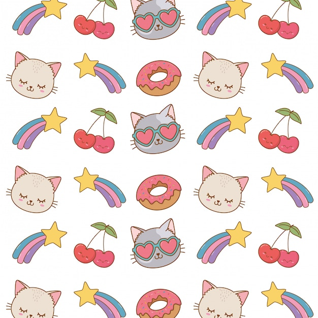 猫ショット星桜の背景 Premiumベクター