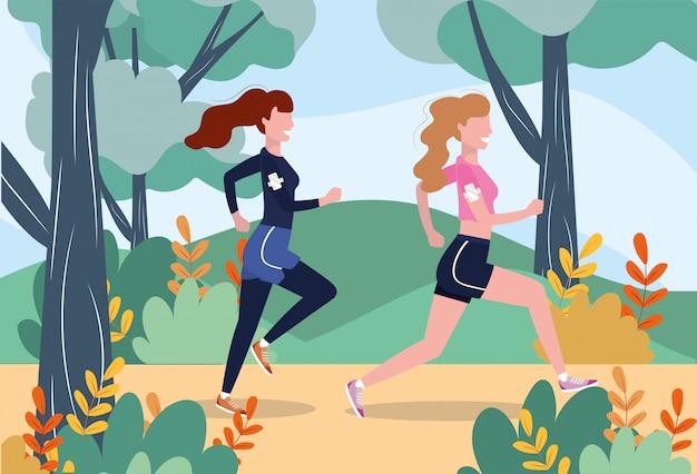 練習フィットネス運動をしている女性 Premiumベクター