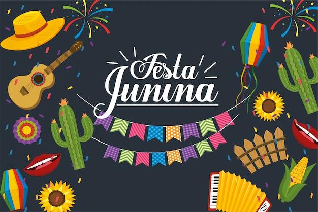 フェスタ・ジュニーナのお祝いへのパーティーバナー Premiumベクター