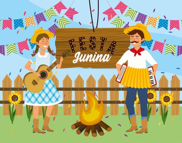 女と男のギターと祭りにアコーディオン Premiumベクター