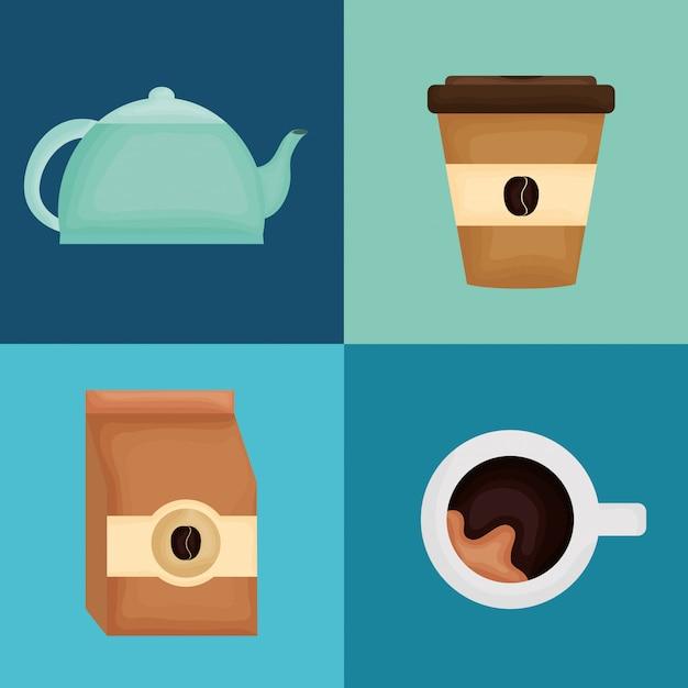Вкусные иконки для кофе и чая Premium векторы