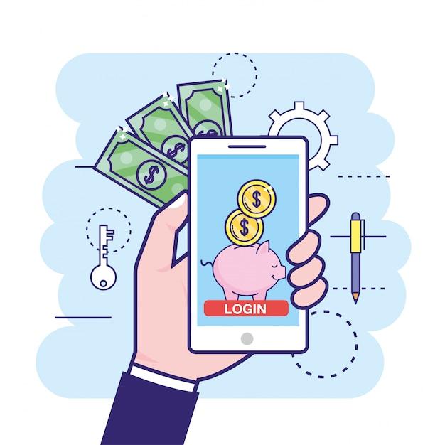 Рука с смартфон и цифровой поросенок с монетами Premium векторы