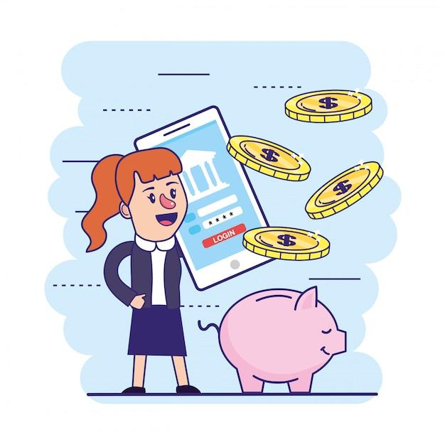 Женщина с смартфон и банковский пароль с монетами Premium векторы