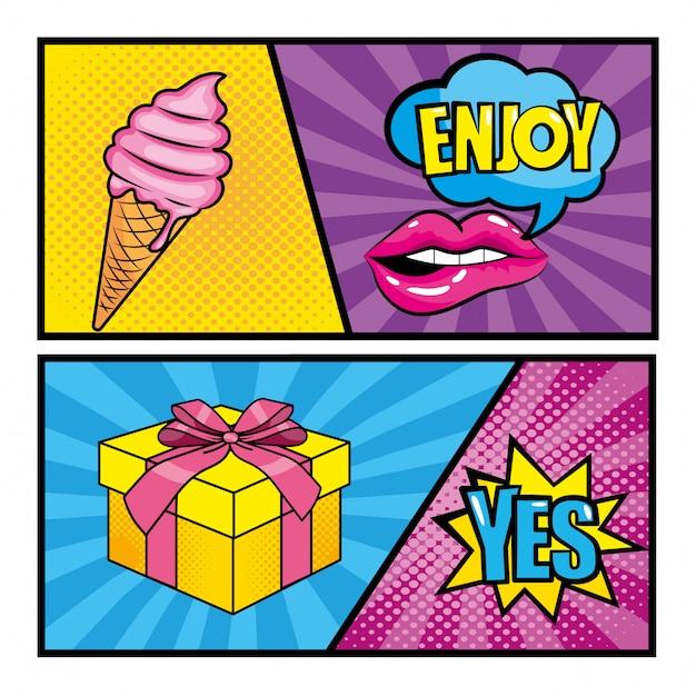 アイスクリームとギフトでポップアートのメッセージを設定する Premiumベクター