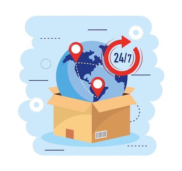 Коробка с глобальной картой и транспортным обслуживанием Premium векторы