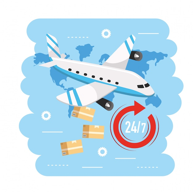 Самолёт с коробками до службы доставки Premium векторы