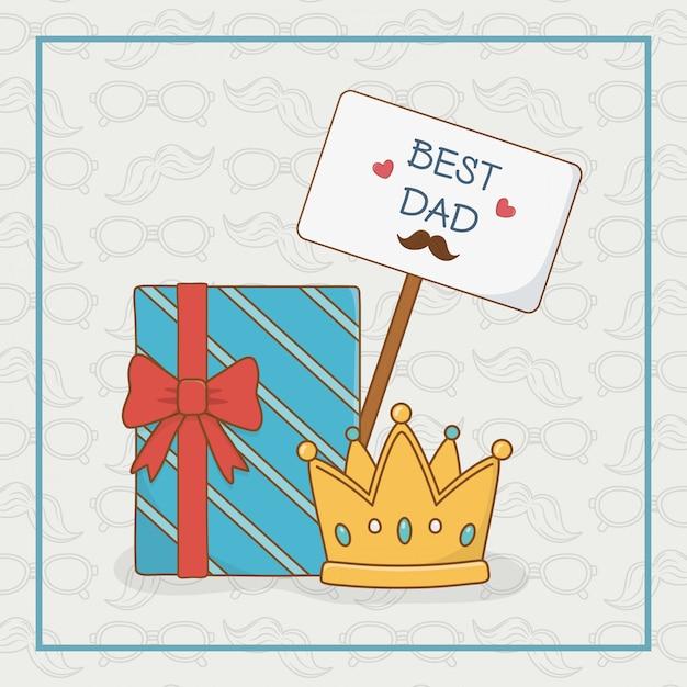 ギフト用の箱との幸せな父親の日カード Premiumベクター
