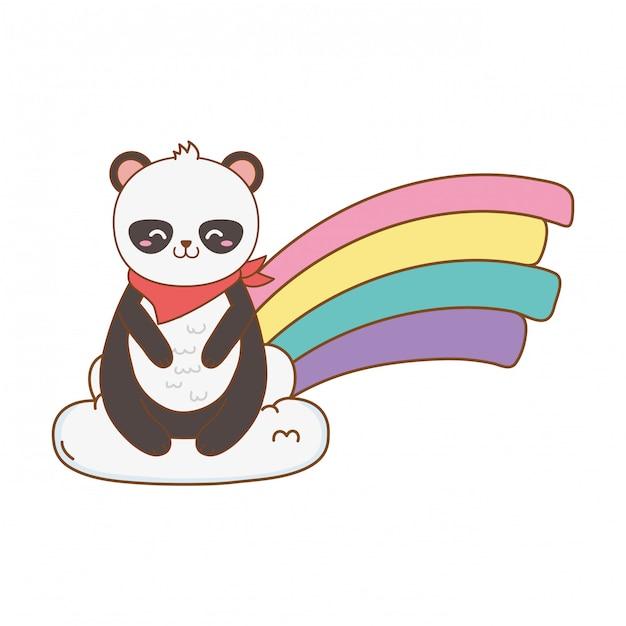 Милая панда в облаках с радугой Premium векторы