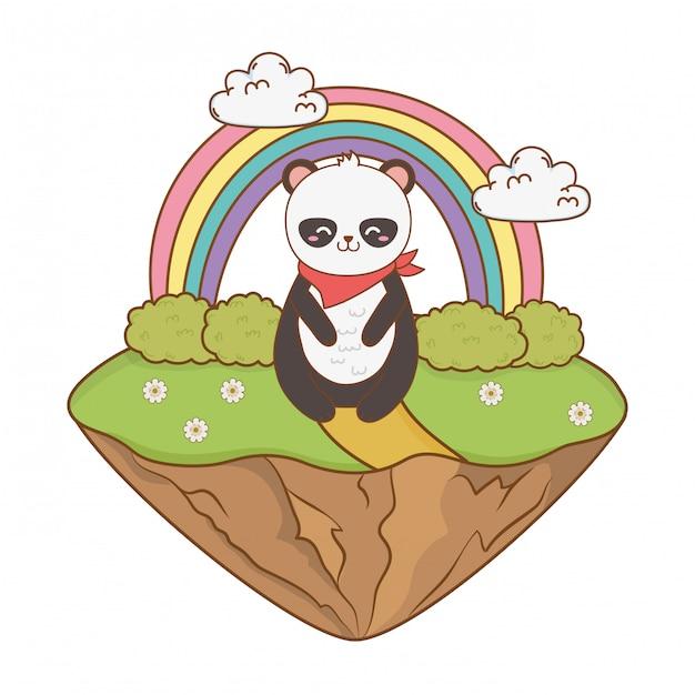 Милая панда в поле лесного персонажа Premium векторы